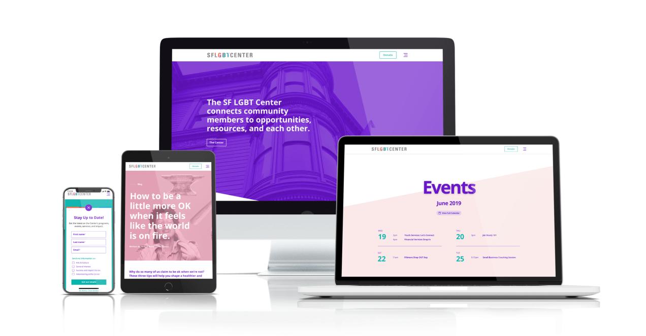 responsive website screens for LGBT Center