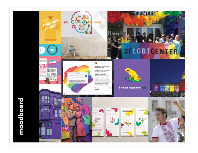 website moodboard for sf lgbt center